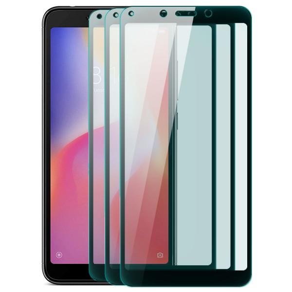 3x Full Cover Displayschutzglas für Xiaomi Redmi 6A - Schwarz