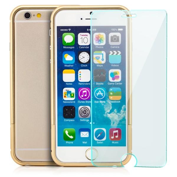 Aluminium Rahmen für Apple iPhone 6 Plus / 6S Plus Gold + GLAS