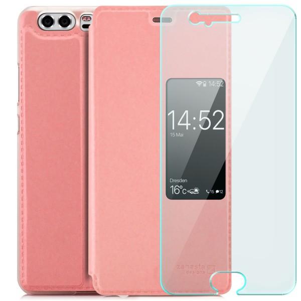 Kunstleder View Case für Huawei P10 - Rosa + GLAS