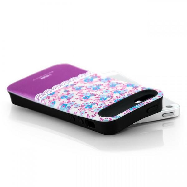 iStyle Blumen Back Cover für Apple iPhone 5 & 5S Weiß-Violett