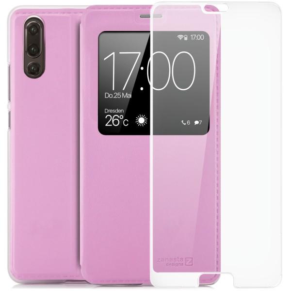 Kunstleder View Case für Huawei P20 - Rosa + FC Glas W