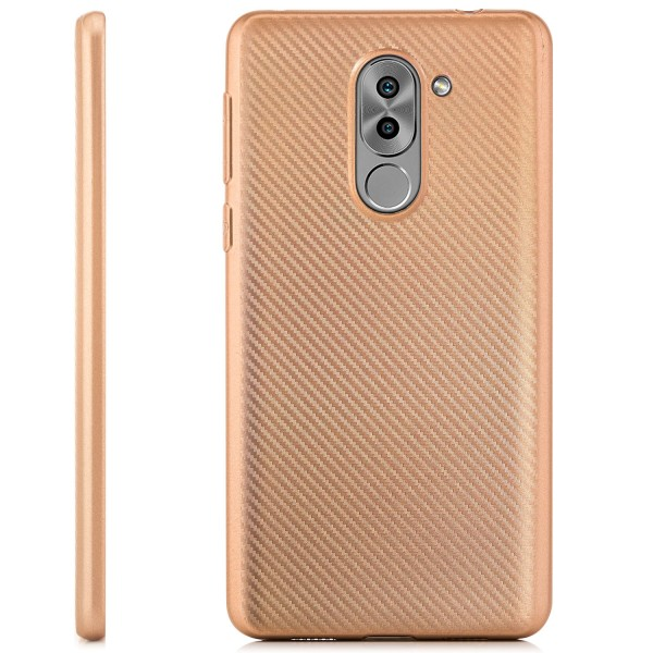 Silikon Metallic Carbon Case für Huawei Honor 6X - Gold