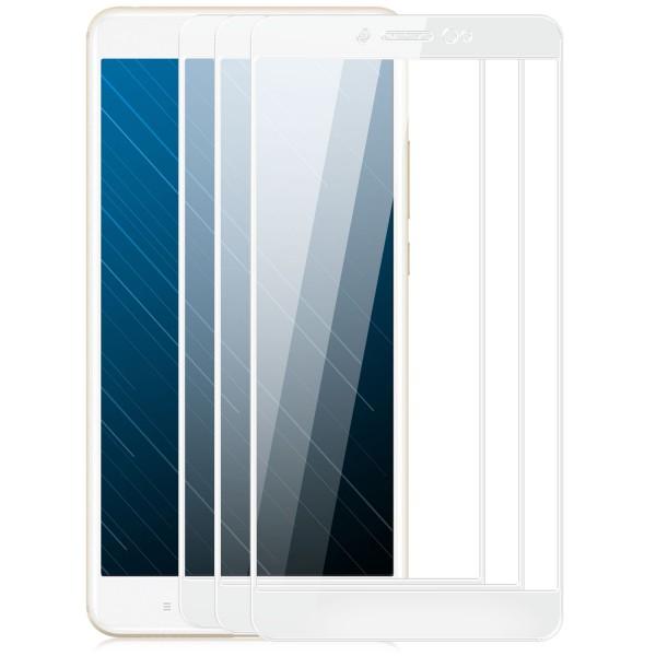 3x Full Cover Displayschutzglas für Xiaomi Mi Max 2 - Weiß
