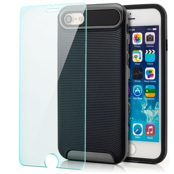 """Ar-Silikon Back Cover Typ 2 für Apple iPhone 8 / 7 (4,7"""") - Schwarz-Grau +GLAS"""