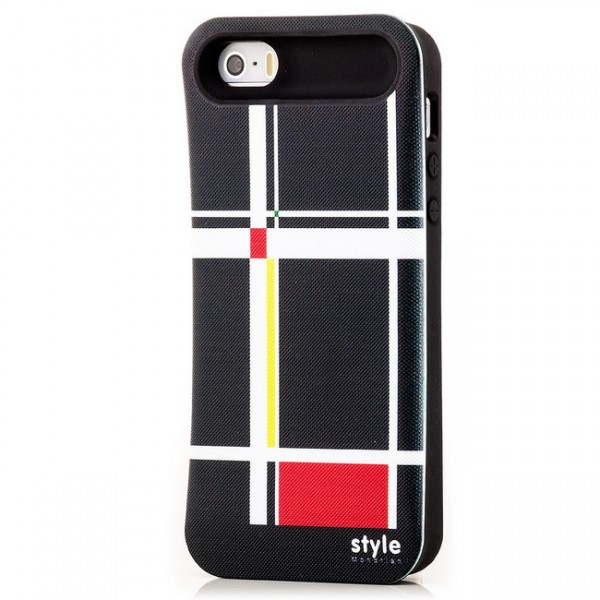 Mondrian Style Back Cover für Apple iPhone 5 & 5S Abstrakt Schwarz