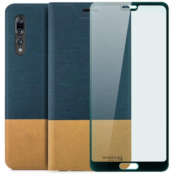 Kunstleder Slim Tasche für Huawei P20 Pro - Blau + FC Glas S