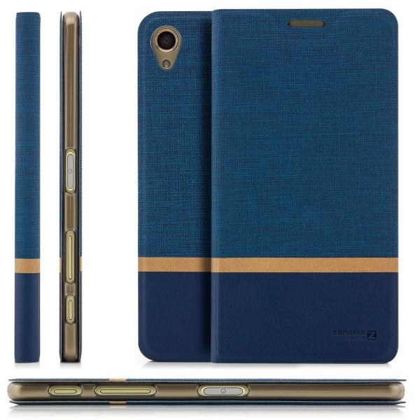 Kunstleder Streifen Case für Sony Xperia X - Blau