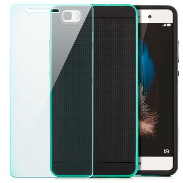 AR-Silikon Back Cover für Huawei P8 Lite (2015) - Schwarz-Grün + GLAS