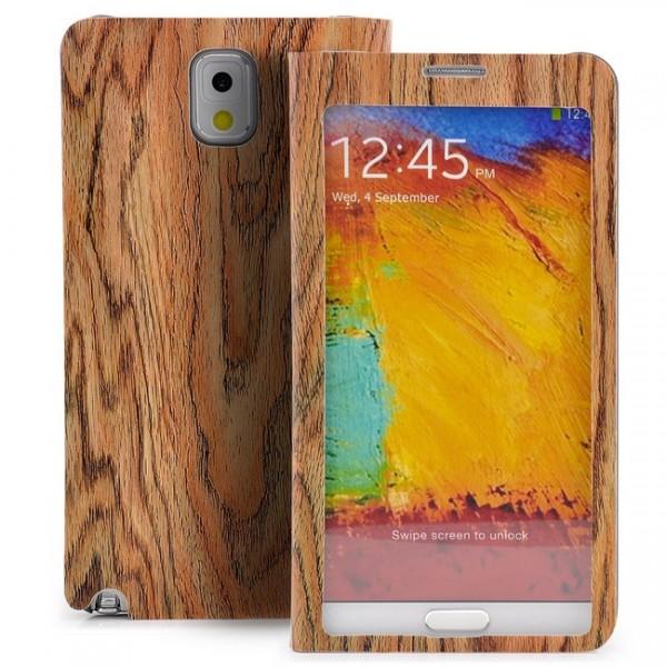 Holz Optik Tasche für Samsung Galaxy Note 3 Braun