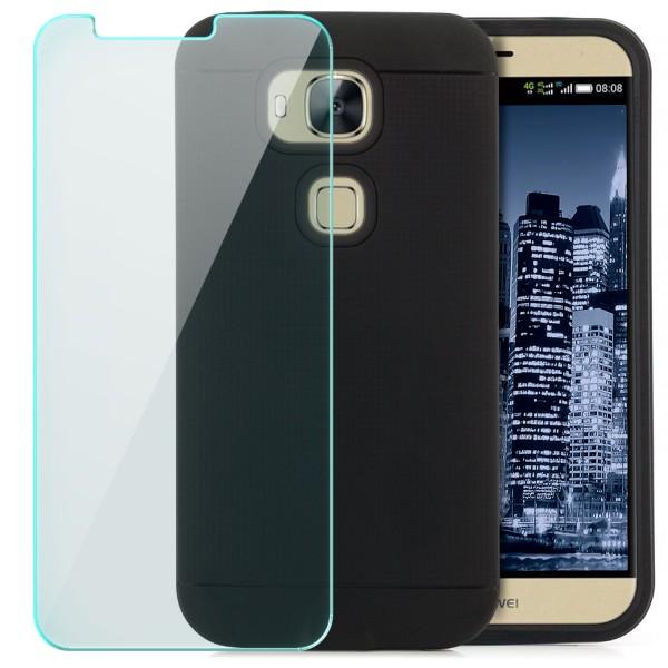 AR-Silikon Back Cover für Huawei G7 Plus - Schwarz-Dunkelblau + GLAS