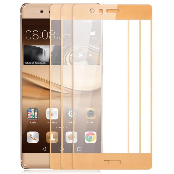 3x Full Cover Displayschutzglas für Huawei P9 Plus - Gold