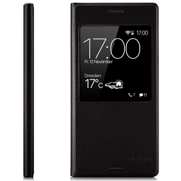 Kunstleder View Case für Sony Xperia XZ1 Compact - Schwarz