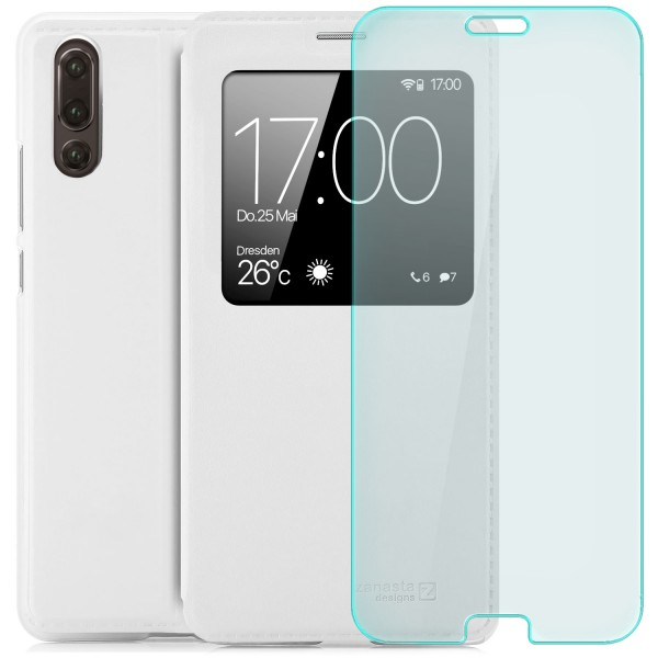 Kunstleder View Case für Huawei P20 - Weiß + Curved Glas T