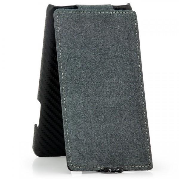 Carbon-Look Flip Case für Huawei Ascend G700 Schwarz