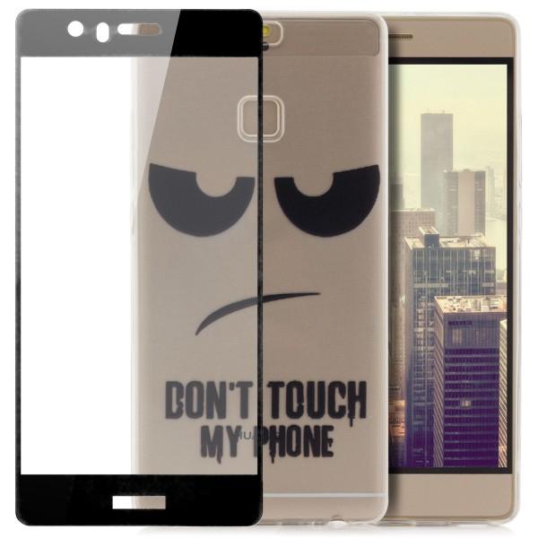 Silikon Motiv Case für Huawei P9 - Dont Touch my Phone 2 + FC Glas S