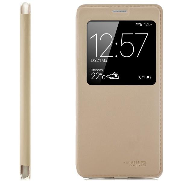 Kunstleder View Case für Huawei P20 Lite - Gold