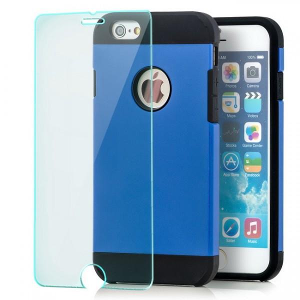 Combo Case für Apple iPhone 6 & 6S (4,7) Blau + Panzerglas