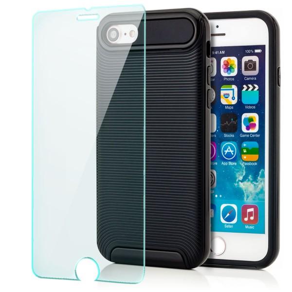 "Ar-Silikon Back Cover Typ 2 für Apple iPhone 8 / 7 (4,7"") - Schwarz +GLAS"