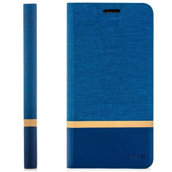 Kunstleder Streifen Tasche für Samsung Galaxy S10 Plus - Blau