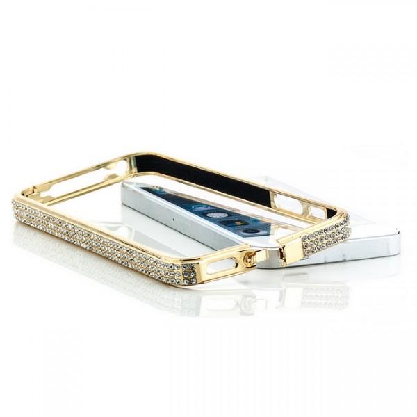 Diamanten Aluminium Bumper für Apple iPhone SE - Gold #