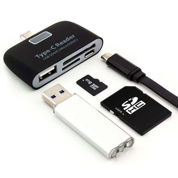 4in1 OTG USB-C Kartenleser - Schwarz