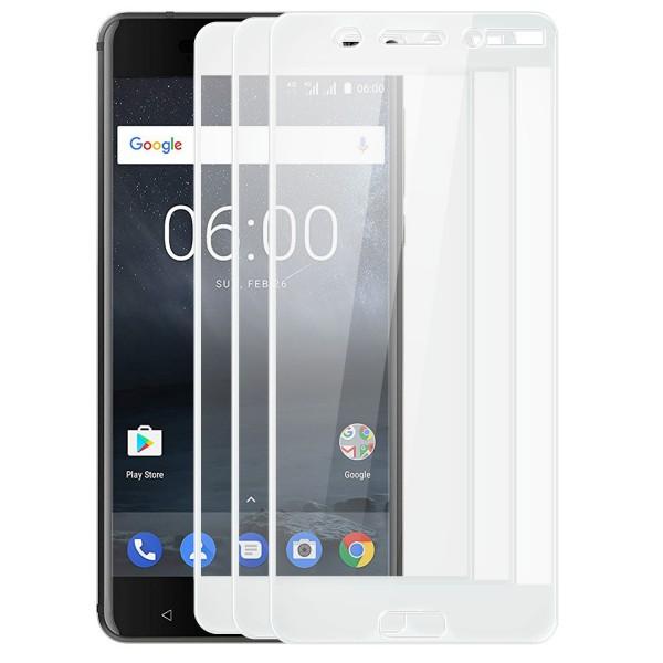 3x Full Cover Displayschutzglas für Nokia 6 - Weiß