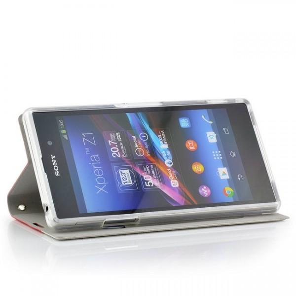 Slim Handytasche für Sony Xperia Z1 Rot-Weiß