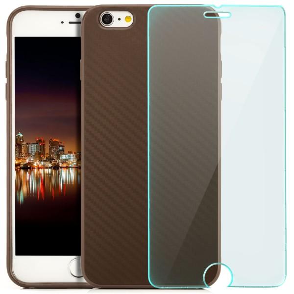 "Silikon Carbon Back Cover für Apple iPhone 6 / 6S Plus (5,5"") - Braun + GLAS"
