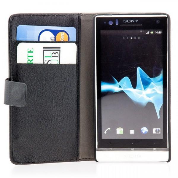 Schutzhülle mit Magnetverschluss für Sony Xperia S Weiß