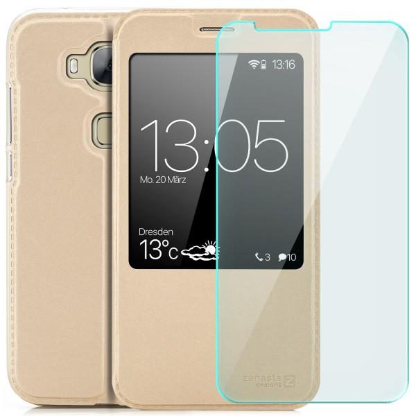Kunstleder View Case für Huawei GX8 (G8) - Gold + GLAS