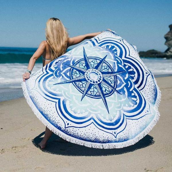 Rundes Strandtuch - Blauer Stern