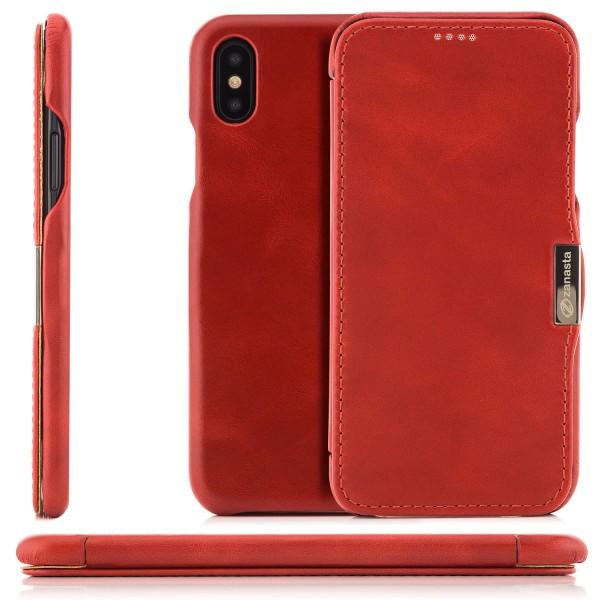 Zanasta Vintage Series Side-open für Apple iPhone X - Rot