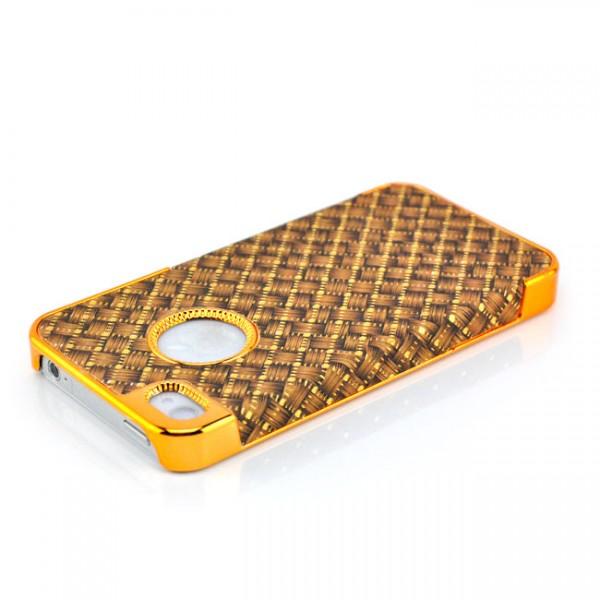 Braided-Look Hard Case für Apple iPhone 4 & 4S Braun-Gold