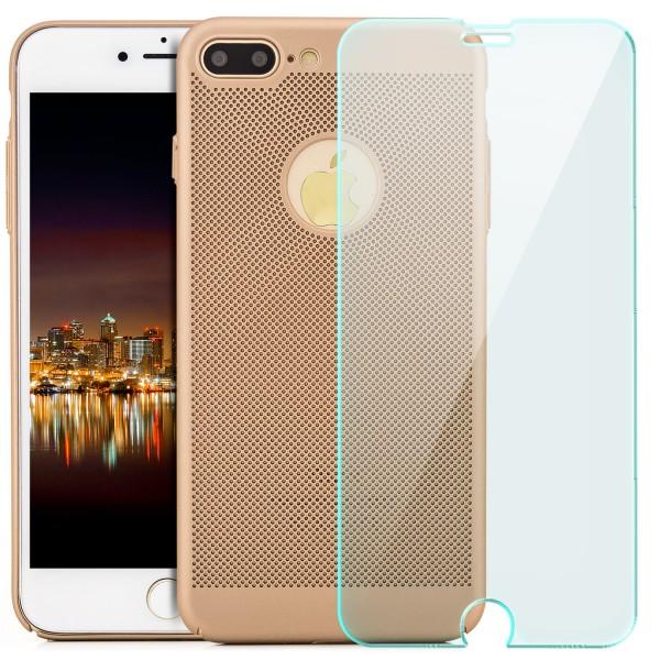 """Gitter Hard Case für Apple iPhone 8 / 7 (4,7"""") - Gold + GLAS"""
