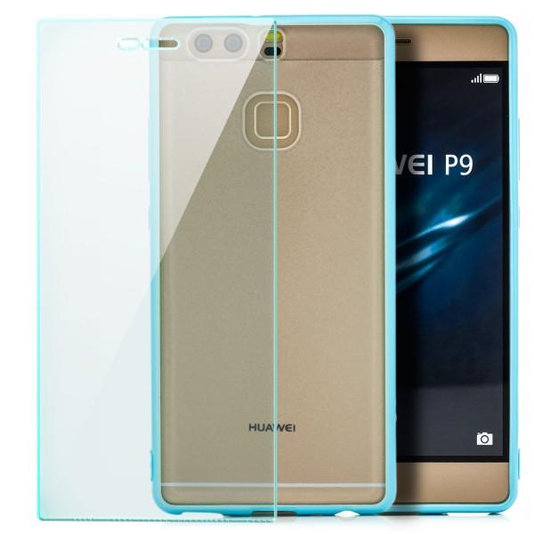 Hard-Soft Back Cover für Huawei P9 - Blau + GLAS
