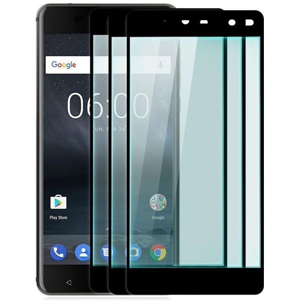 3x Full Cover Displayschutzglas für Nokia 6 - Schwarz