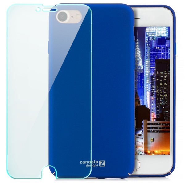 "Simple Hard Back Cover für Apple iPhone 8 / 7 (4,7"") - Blau + GLAS"