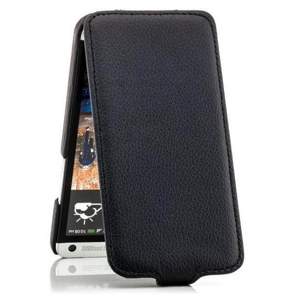 Slim Flip Tasche für HTC One M7 Schwarz