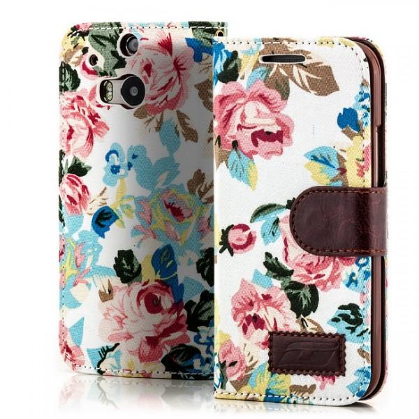 Blumen Handytasche für HTC One M8 Weiß