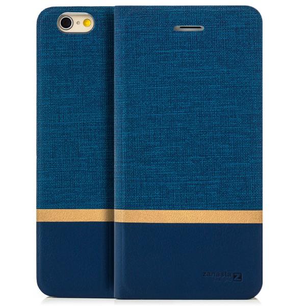 """Kunstleder Streifen Tasche für Apple iPhone 6 Plus / 6S Plus (5,5"""") - Blau"""