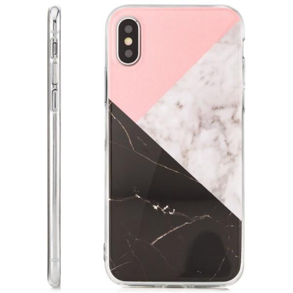 Silikon Motiv Case für Apple iPhone X - Marmor-Dreiecke