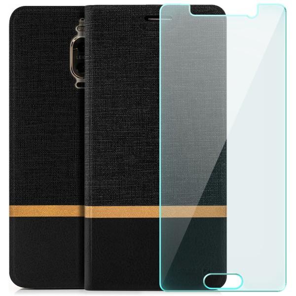 Kunstleder Streifen Tasche für Huawei Mate 9 Pro - Schwarz + GLAS