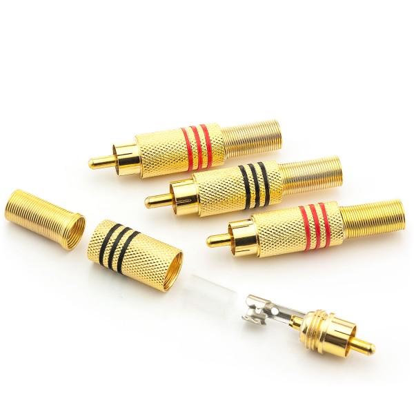 3x Cinch Stecker Ø 7mm Knickschutz RCA Chinch Audiostecker Rot