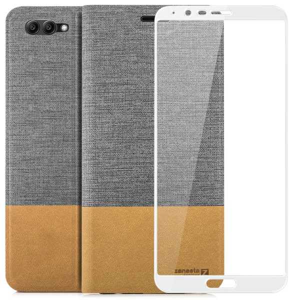 Kunstleder Slim Tasche für Huawei Honor View 10 - Grau + FC Glas W