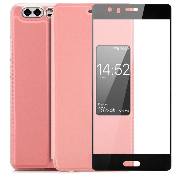 Kunstleder View Case für Huawei P10 - Rosa + FC Glas S