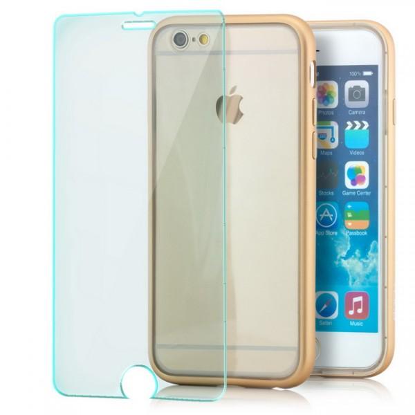 Rock Kani Series Bumper Case für Apple iPhone 6 / 6S (4,7) Gold + GLAS