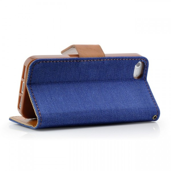 British Denim Jeans Style Tasche für Apple iPhone 5 & 5S Blau