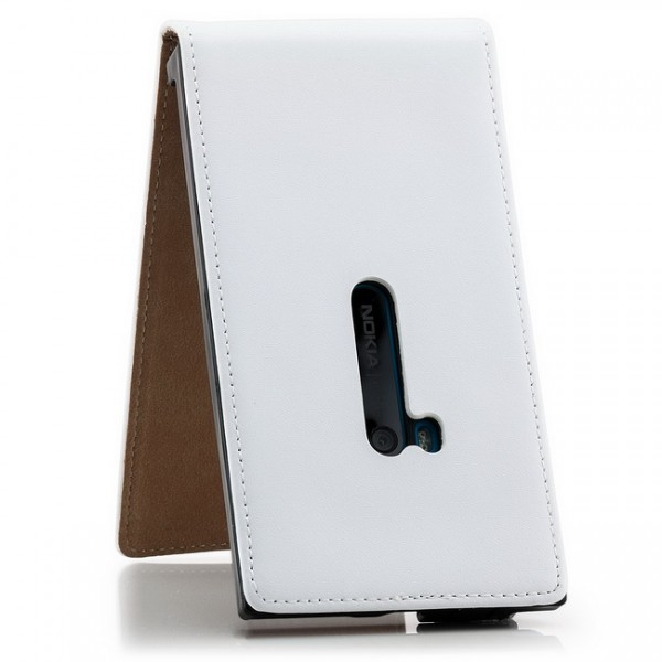 Flip Case mit Magnetverschluss für Nokia Lumia 920 Weiß