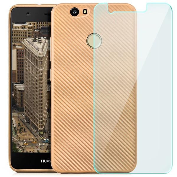 Silikon Metallic Carbon Case für Huawei Nova - Gold + GLAS