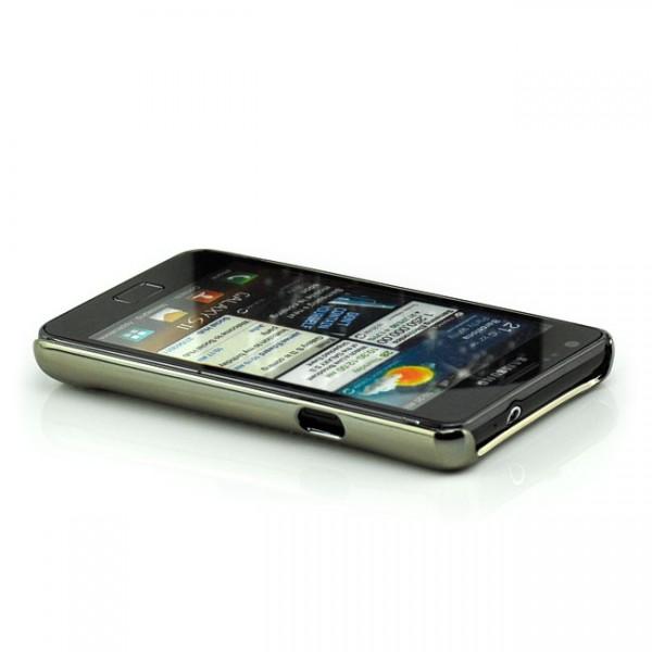 Glitzer Streifen Back Cover für Samsung Galaxy S2 Silber